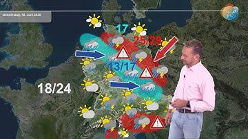 Aktuelle Wettervorhersage für den 17. Juni 2020: neue Konvergenz mit Regen, Gewittern & Starkregen.