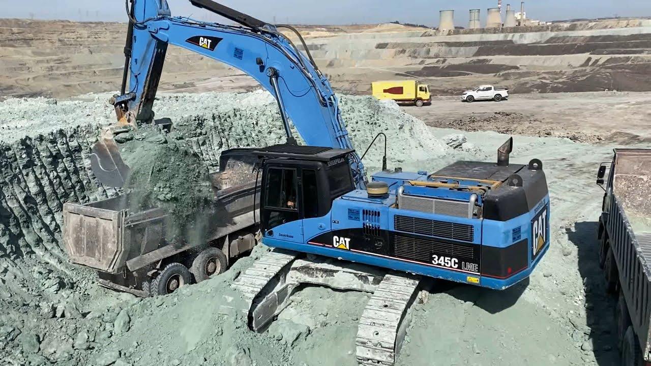 Caterpillar 345C Excavator Loading Trucks - 65 Minutes Movie