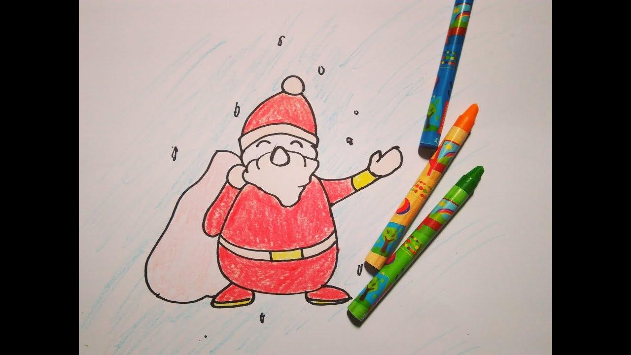 Dạy Bé Tập Cách Vẽ và Tô Màu Ông Già Noel đơn giản |Drawing santa claus | Đón giáng sinh