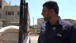 المكتب الإغاثي في مدينة الحارة يتبرع لمدينة جاسم بمواد إغاثية بسبب ما تمر به المدينة من قصف