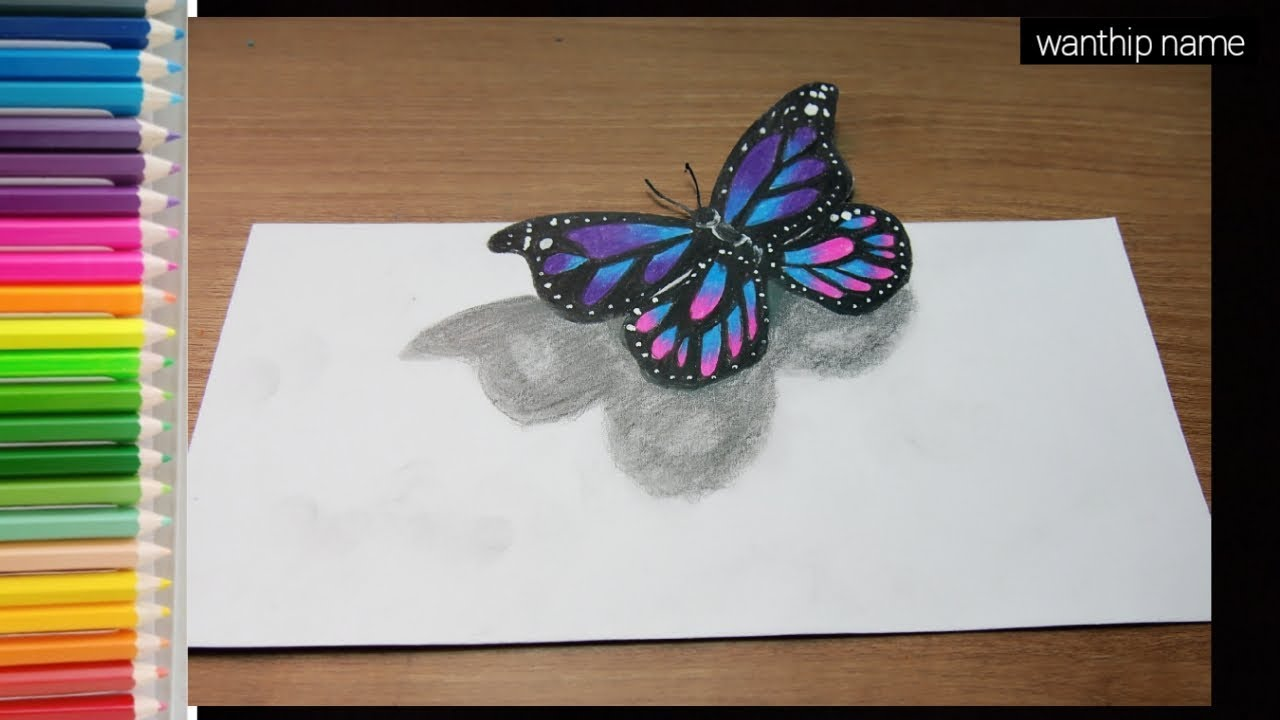 Unique 3d beautiful butterfly drawing for beginners|วาดภาพ ผีเสื้อ 3มิติ