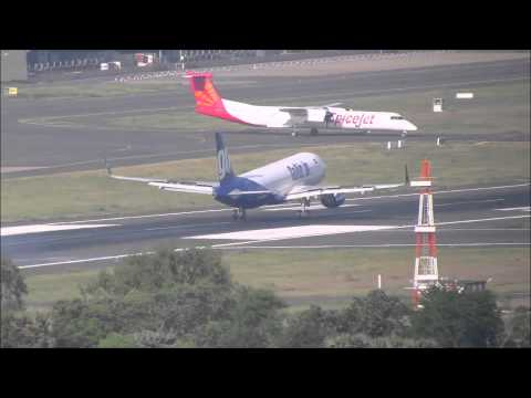 GoAir Airbus A320 with winglets lands at Chennai Airport