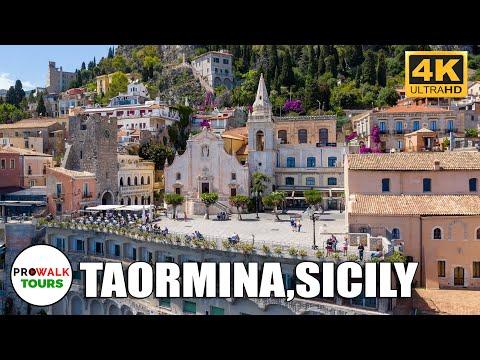 Taormina, Sicily Walking Tour [4K|60fps]