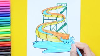 How to draw and color a waterpark slide