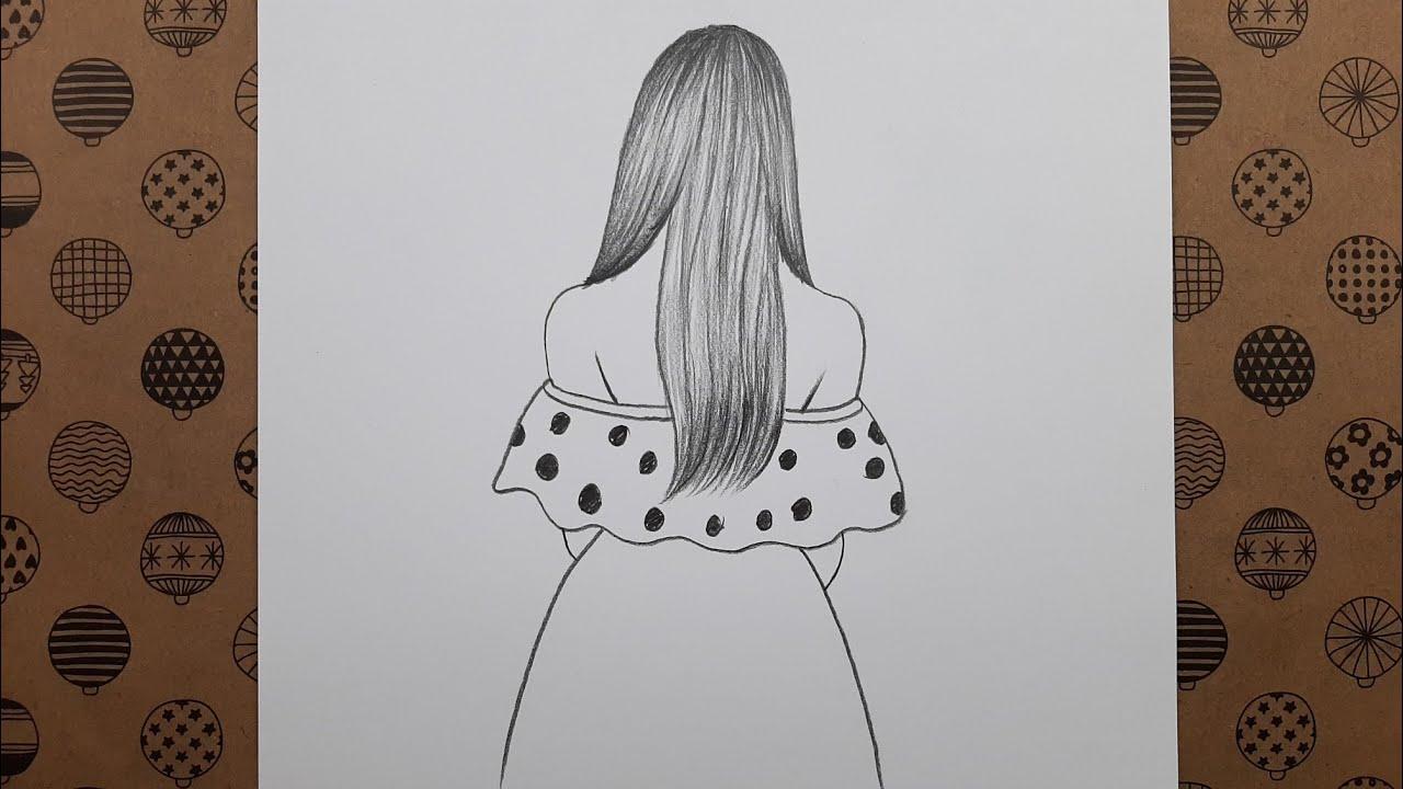 Kolay, Arkası Dönük Uzun Saçlı Kız Resmi Nasıl Çizilir, Çizim Hobimiz Karakalem Resimleri
