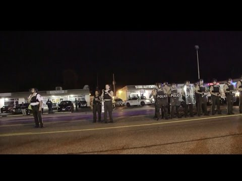 LIVE: Ferguson 'night of civil disobedience' on Mike Brown's shooting anniversary