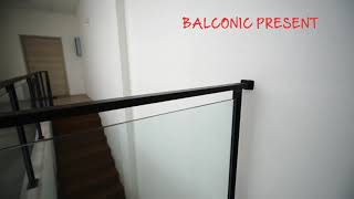 Stair railing black design with glass