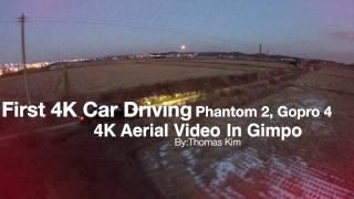 First 4K Car Driving Aerial(Phantom 2, Gopro 4)