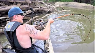Catching HUGE FISH from SMALL STREAMS!! (Kayak Fishing)