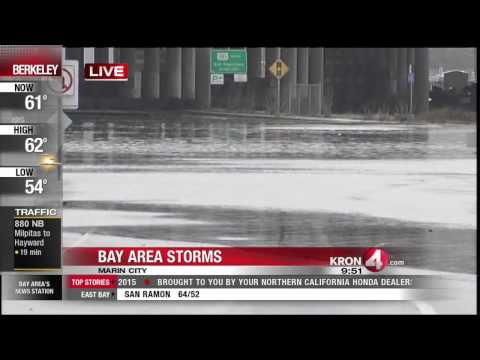 Flooding Causes Heavy Traffic On SB HWY 101 in Marin County
