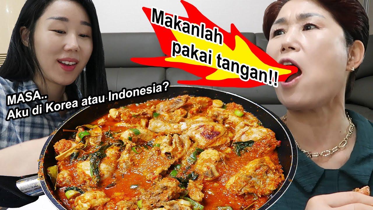 Makanan utama di meja makan Korea = Ayam rica-rica dan Sambal..🤤