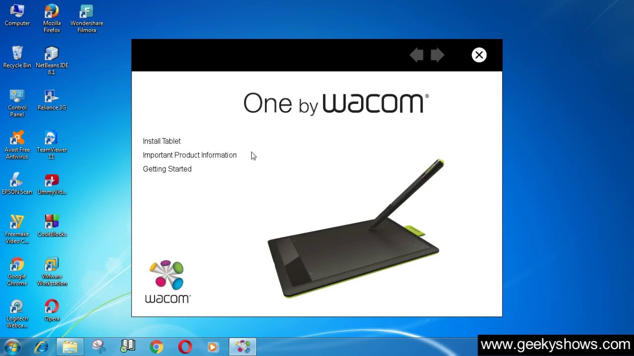 Install Driver One by Wacom CTL 471 Tablet (English)