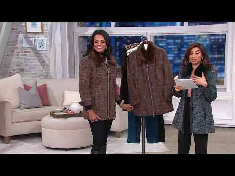 Dennis Basso Zip Front Tweed Coat with Faux Fur Collar on QVC 38478a4cf9f30