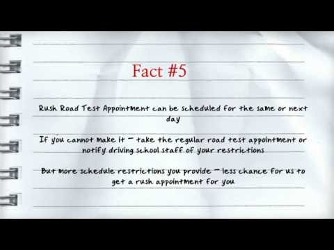 Quick facts on rush road test appointment - YouTube