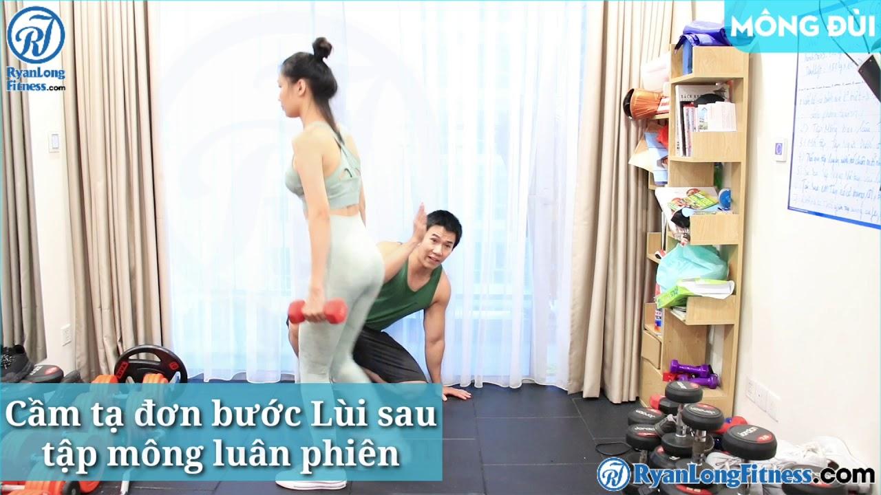 Cầm tạ đơn bước Lùi sau tập mông luân phiên   Nữ   Junie HLV Ryan Long Fitness