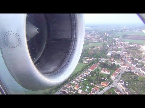 Fokker 100. Great Engine Sound. Approach and Landing in Vienna Airport