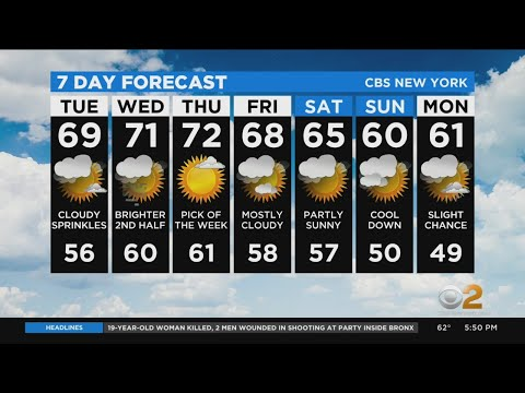 New York Weather: CBS2's 10/19 Monday Evening Update