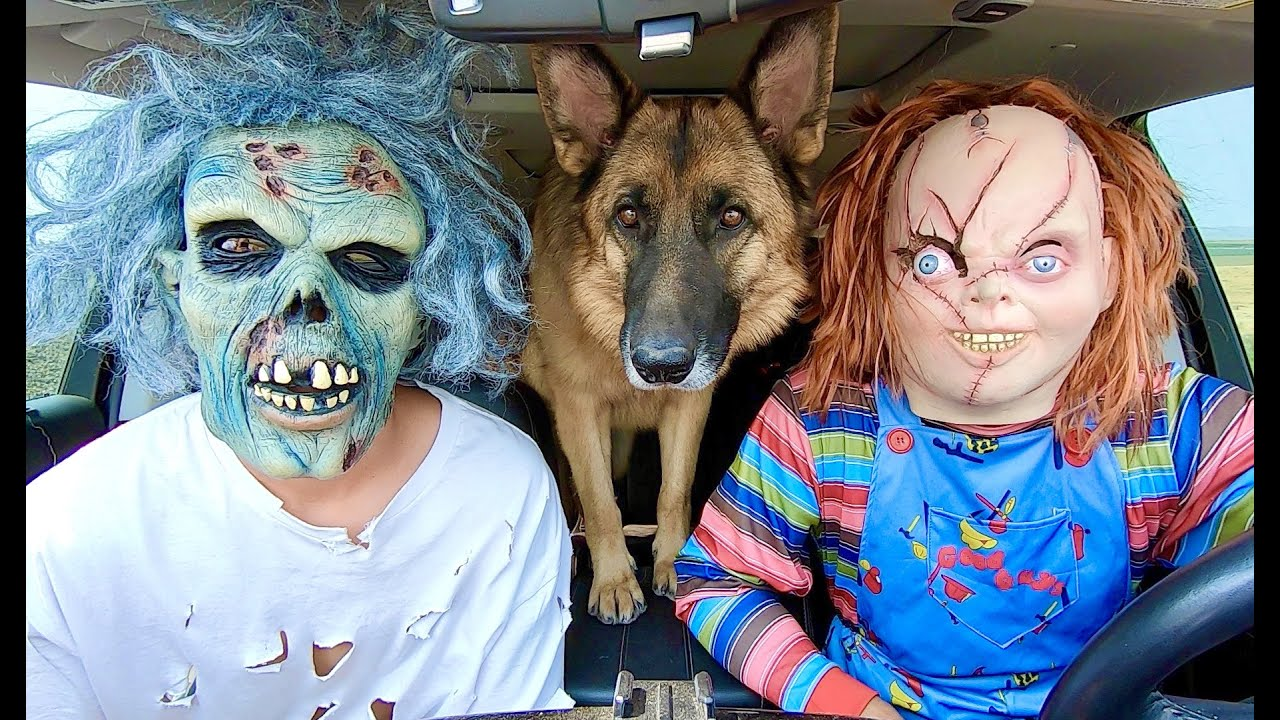 Chucky Surprises Zombies & Dog With Car Ride Chase!