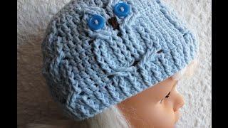 """Шапочка  """"СОВА"""" Ч -1  Beanie """"owl"""" Crochet P -1"""