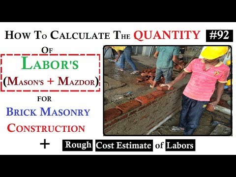 How to Calculate the Quantity of labor and Estimate their Cost for Brick Masonry construction