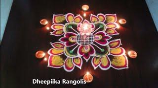 varalakshmi vratham muggulu with 6x6 dots ll Diwali rangoli design ll deepam kolam designs