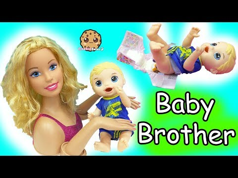 Thumbnail: Barbie Baby Brother- Babysitting Baby Alive Boy Feed, Changing Diaper,