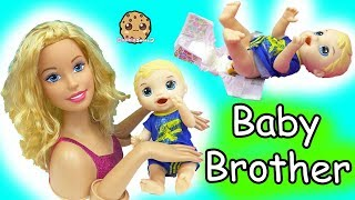 Barbie Baby Brother- Babysitting Baby Alive Boy Feed, Changing Poop Diaper,
