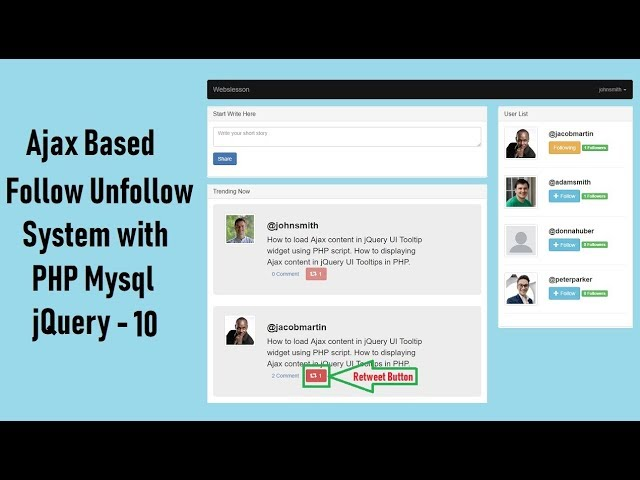 Ajax Based Follow Unfollow System with PHP Mysql jquery - 10