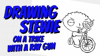 How to Draw Stewei on a trike with a ray gun