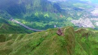 Stairway to Heaven/Haiku Stairs by Drone - Oahu, Hawaii