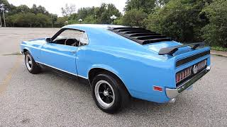 1970 Ford Mach One Grabber Blue for sale at www coyoteclassics com