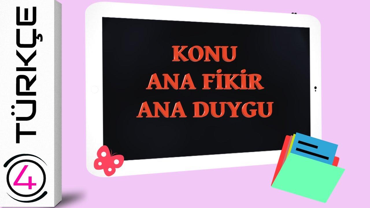 4. SINIF KONU, ANA FİKİR , ANA DUYGU KONU ANLATIMI