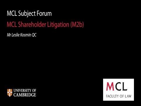 MCL Subject Forum 2014: (M2b) Shareholder Litigation