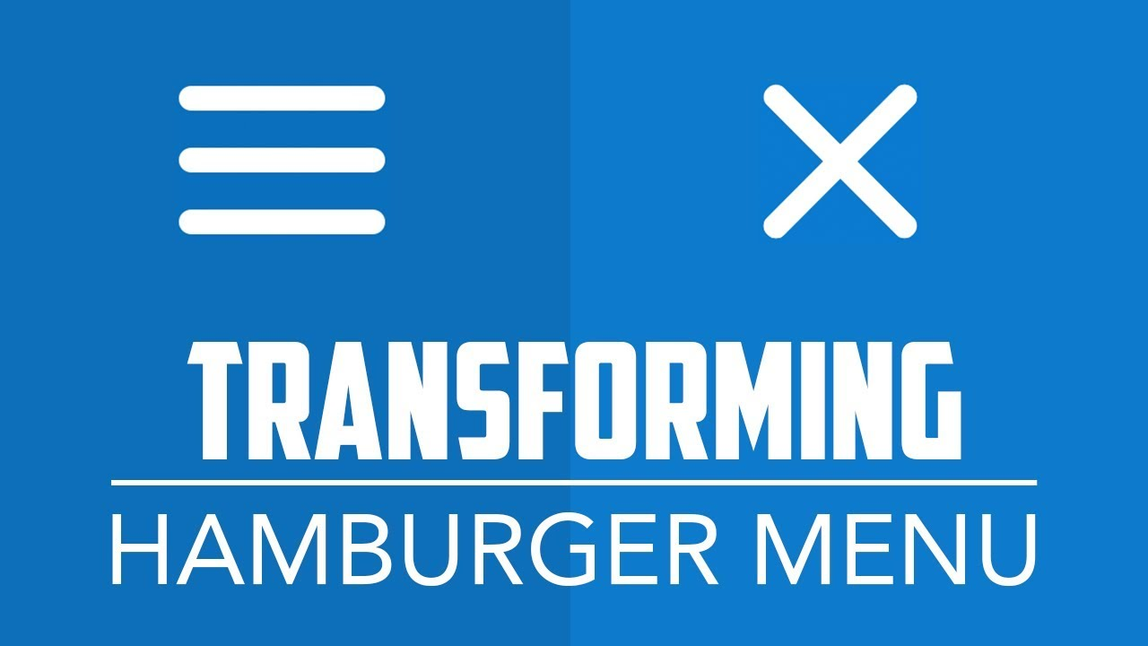 Transforming Hamburger Menu - Animated Toggle Nav Button with HTML5, CSS3  and jQuery