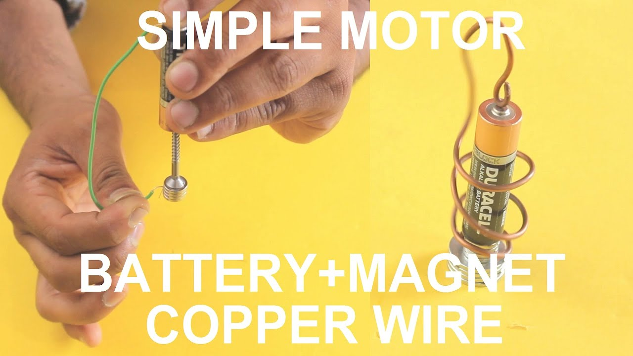 World\'s Simple Motor With Battery And Magnet And Copper Wire (Two ...