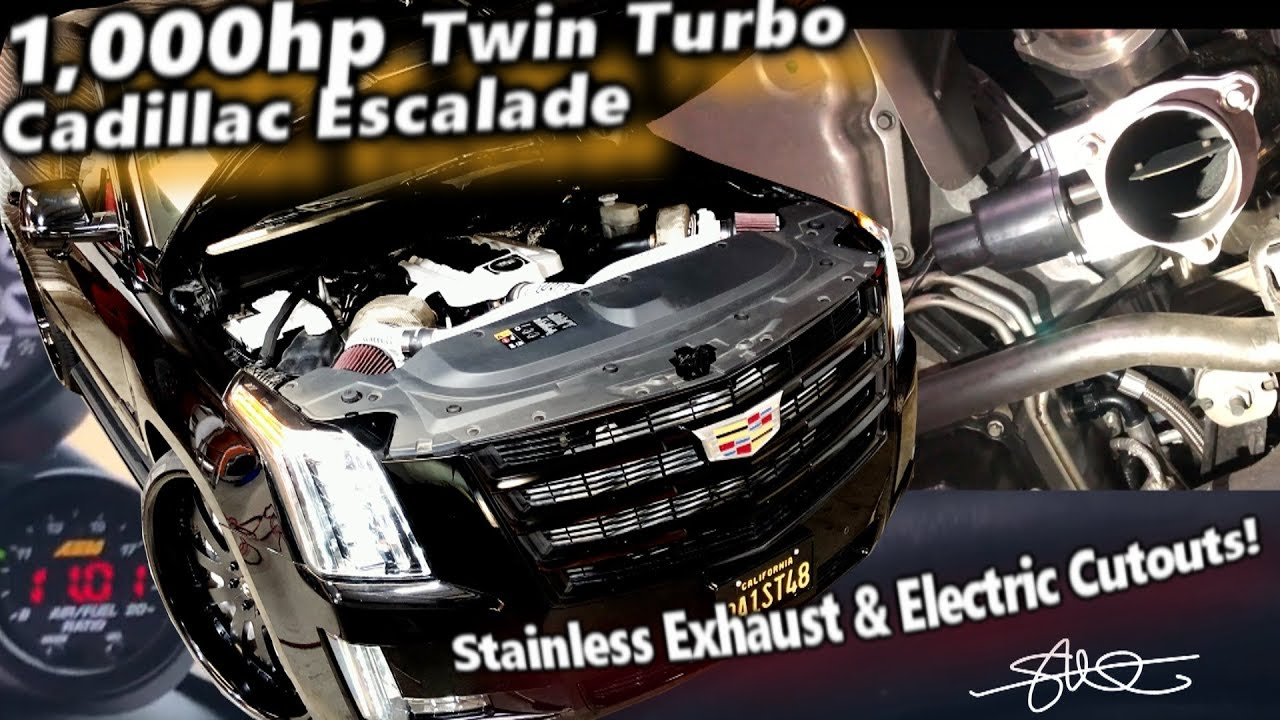 1 000hp Twin Turbo Cadillac Escalade Stainless Exhaust Wide F N Open Electric Cutouts