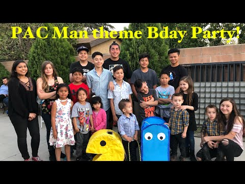 PAC Man Theme Bday Party|Jumping In Bounce House|Playing Musical Chairs|Hitting PAC Man Piñata