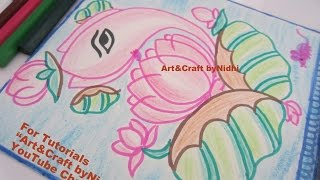 How to Draw & Color Lord GANESHA from LOTUS Flower Bud Leaf