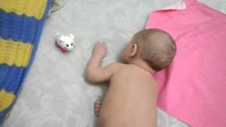 Малыш в 3,5 месяца общается с игрушечной хрюшкой