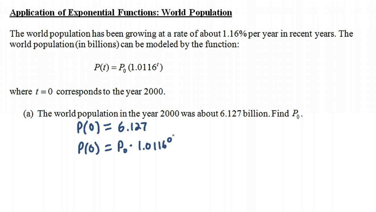 worksheet Applications Of Exponential Functions Worksheet application of exponential functions world population youtube population