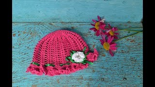 """Шляпка-панамка крючком.  Вяжем цветок"" (Hat-panama crochet. Knit flower)"