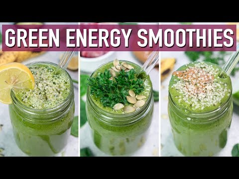 3 Green Breakfast Smoothies for TONS of ENERGY | Healthy Breakfast Ideas