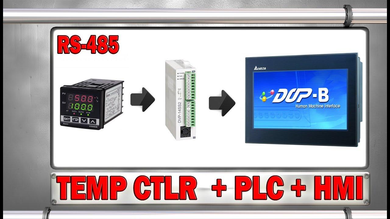Coneccion Rs 485 A Un Temperature Controller Plc Y Hmi Youtube Unitronics Rs485 Wiring