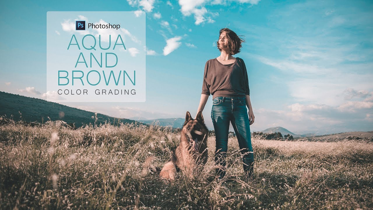 aqua and brown color grading effect in photoshop fashion coloring