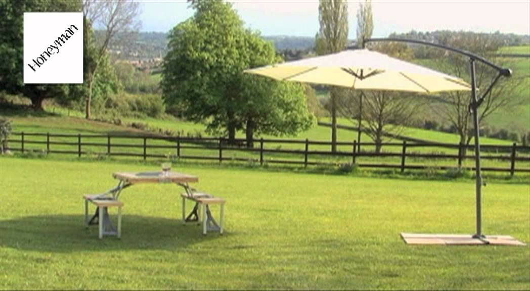 Honeyman Luxury Free-Standing 3-Metre Banana Parasol - Youtube
