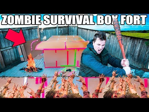 BOX FORT ZOMBIE SURVIVAL BASE!!  📦😱 The Walking Dead Box For