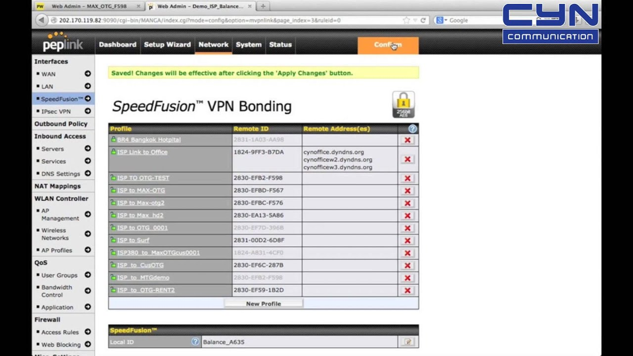 Config Peplink Link Site to Site By Speedfusion VPN