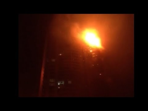 Massive fire rages in Dubai skyscraper