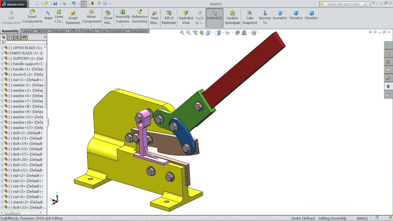 SolidWorks tutorial Manual Shearing machine - YouTube