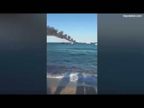 Luxury Yacht goes up in flames at St Tropez most famous beach